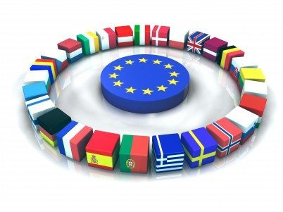 Reflet de drapeaux européens