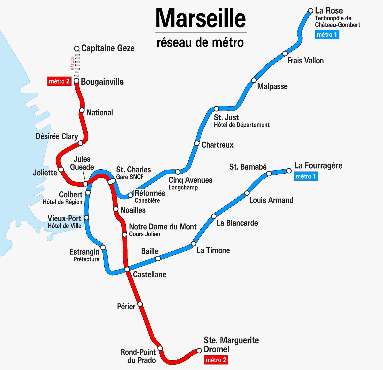 Plan du métro de Marseille