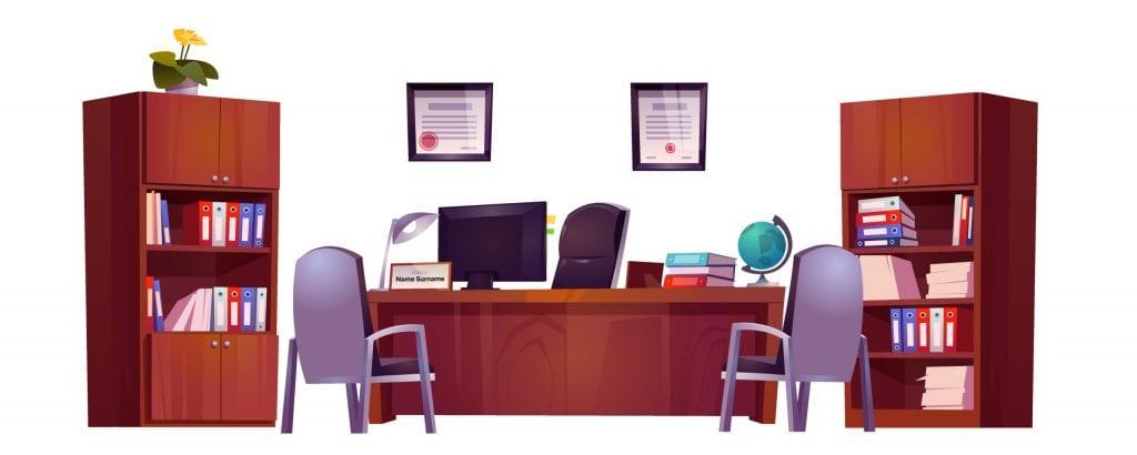 Dessin du bureau du Directeur stylisé