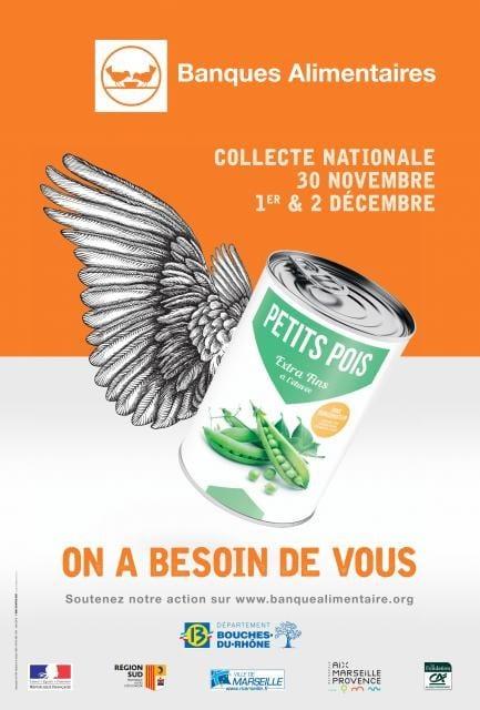 Affiche de la Collecte Nationale des Banques Alimentaires du 30 novembre au 2 décembre en France. Boite de petits pois et ailes?