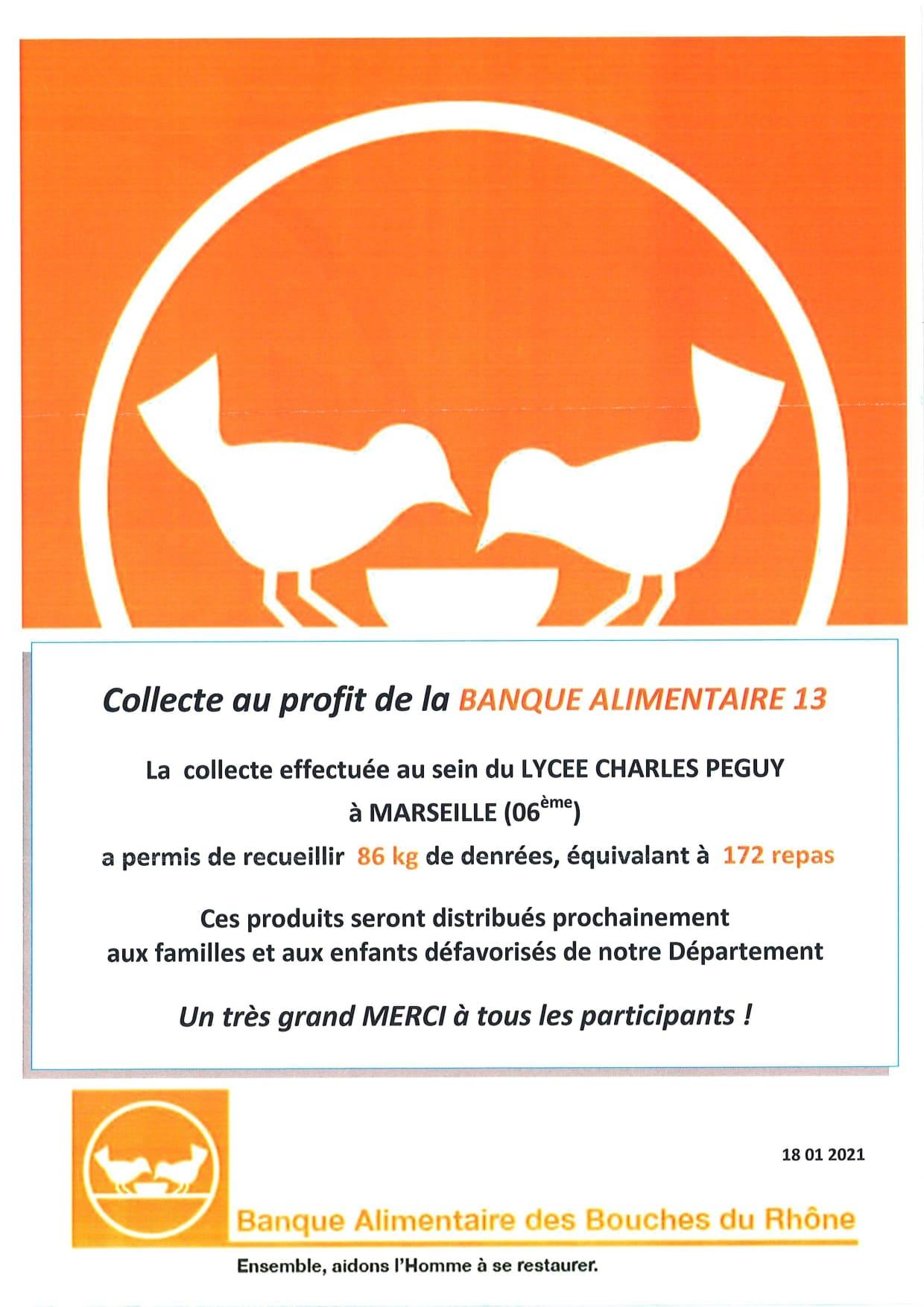 banque alimentaire: Affiche de remerciement au Lycée Charles Péguy à Marseille