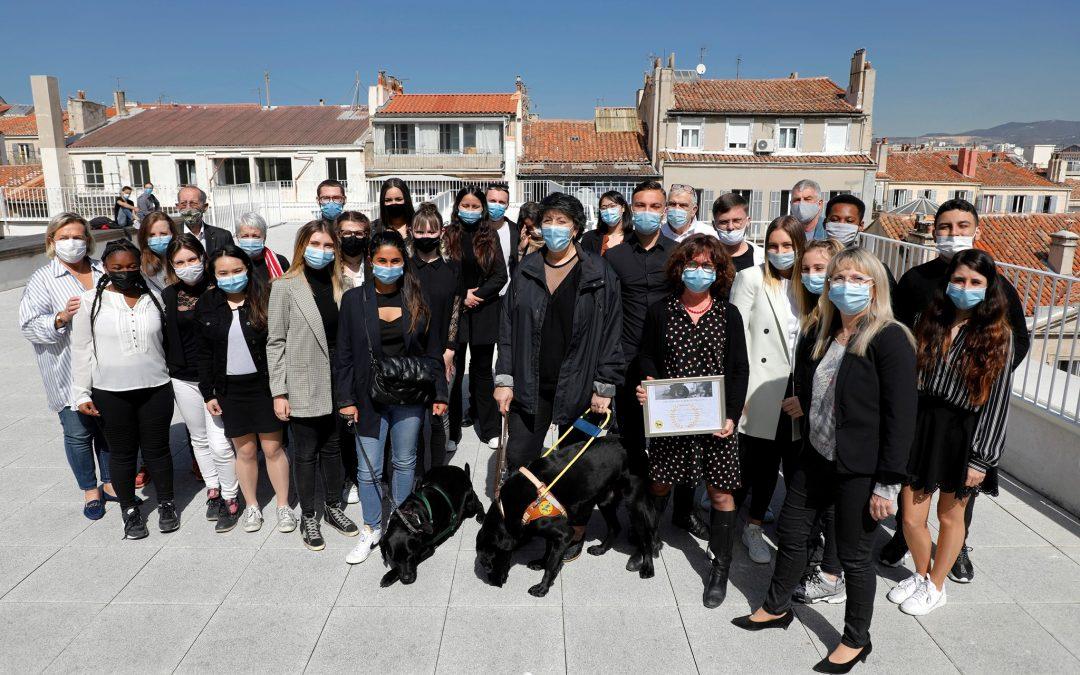 Chiens guides d'aveugles sur la terrasse de Charles Péguy