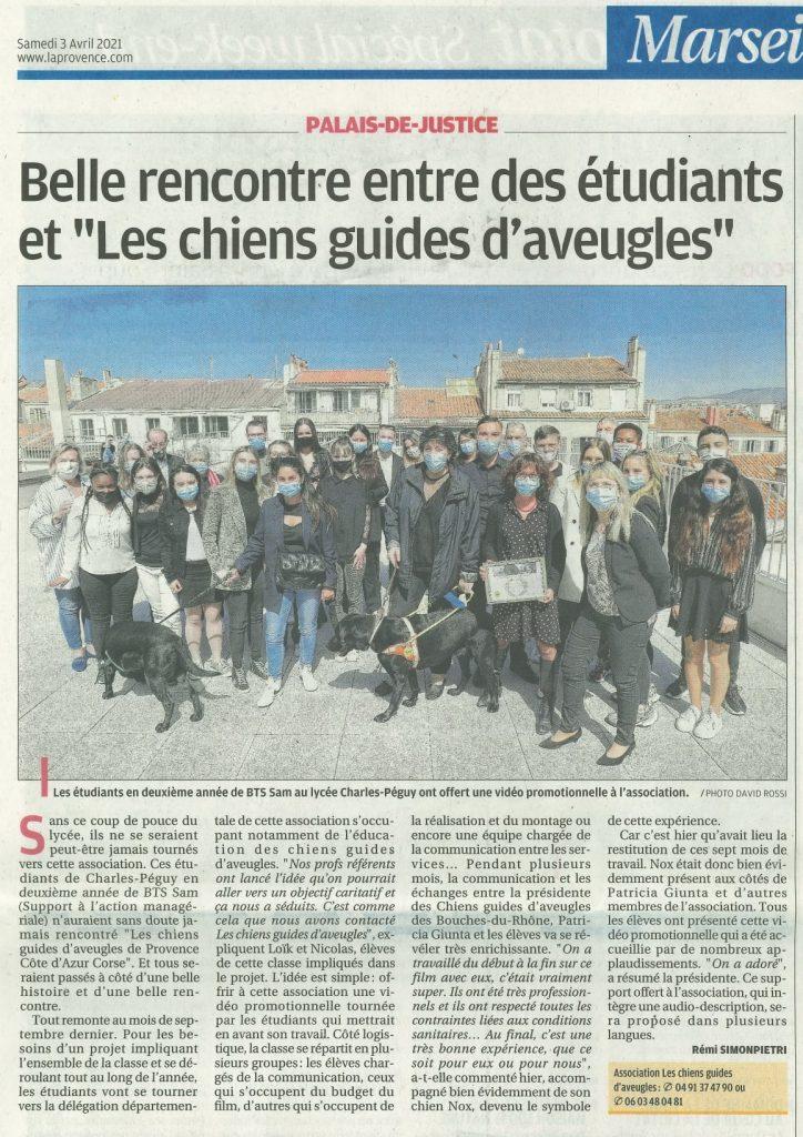 article de la Provence sur les chiens guides d'aveugles à Péguy